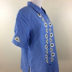 NWOT BOB MACKIE QVC Linen Blend Short Sleeve Shirt